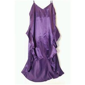 Nastygal Ruffle Purple Silky Nightgown Dress NWT